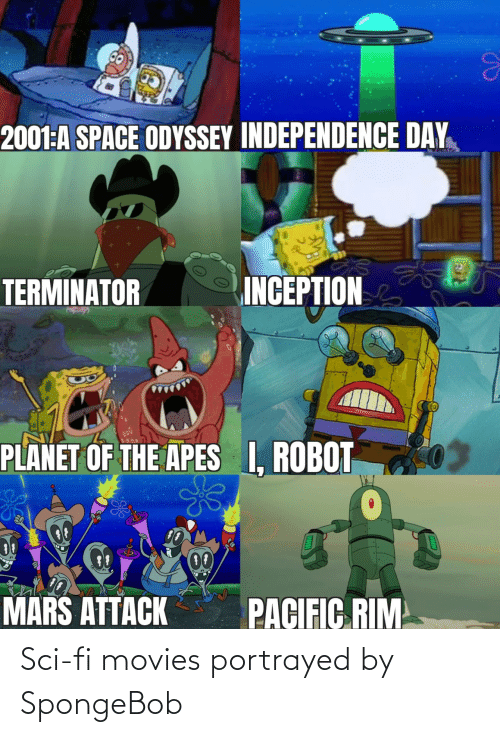sci: Sci-fi movies portrayed by SpongeBob