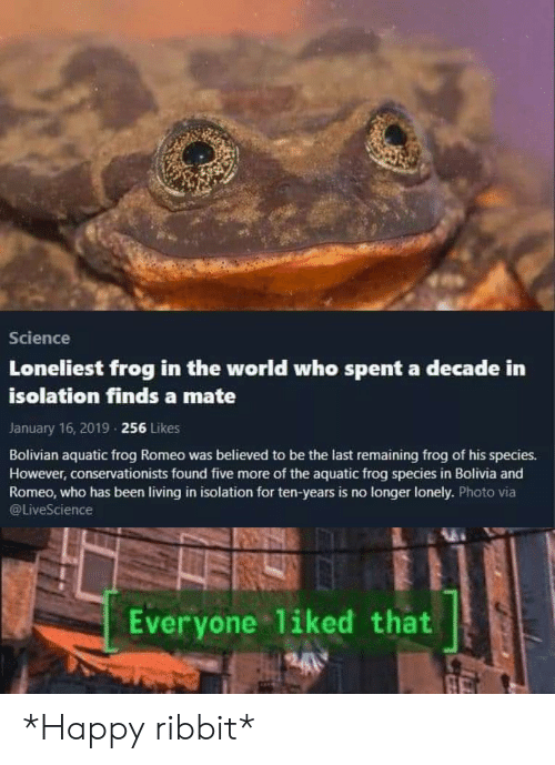 Frog Species: Science  Loneliest frog in the world who spent a decade in  isolation finds a mate  January 16, 2019 256 Likes  Bolivian aquatic frog Romeo was believed to be the last remaining frog of his species.  However, conservationists found five more of the aquatic frog species in Bolivia and  Romeo, who has been living in isolation for ten-years is no longer lonely. Photo via  @LiveScience  Everyone 1iked that  A *Happy ribbit*