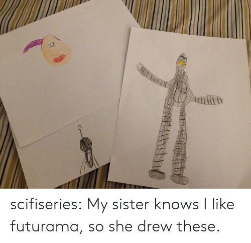 sister: scifiseries:  My sister knows I like futurama, so she drew these.