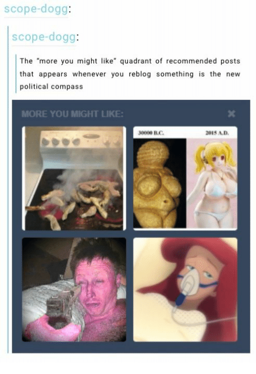 """scope: scope-dogg:  scope-dogg:  The """"more you might like"""" quadrant of recommended posts  that appears whenever you reblog something is the new  political compass  MORE YOU MIGHT LIKE  30000 В.С.  2015 A.D"""