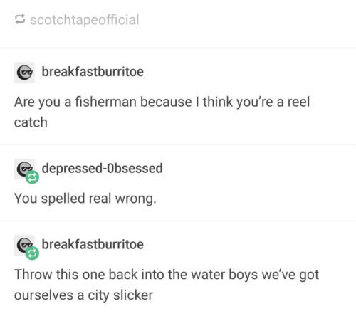 fisherman: scotchtapeofficial  breakfastburritoe  Are you a fisherman because I think you're a reel  catch  depressed-Obsessed  You spelled real wrong.  breakfastburritoe  Throw this one back into the water boys we've got  ourselves a city slicker