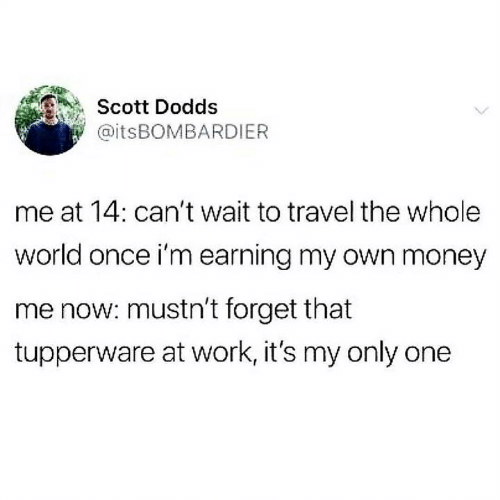 Tupperware: Scott Dodds  @itsBOMBARDIER  me at 14: can't wait to travel the whole  world once i'm earning my own money  me now: mustn't forget that  tupperware at work, it's my only one
