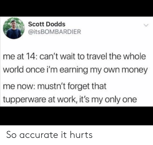 Tupperware: Scott Dodds  @itsBOMBARDIER  me at 14: can't wait to travel the whole  world once i'm earning my own money  me now: mustn't forget that  tupperware at work, it's my only one So accurate it hurts
