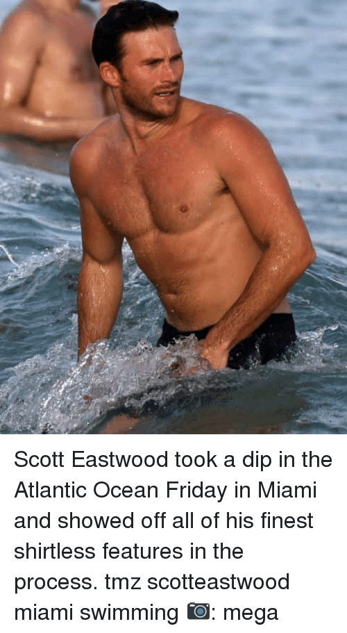 eastwood: Scott Eastwood took a dip in the Atlantic Ocean Friday in Miami and showed off all of his finest shirtless features in the process. tmz scotteastwood miami swimming 📷: mega