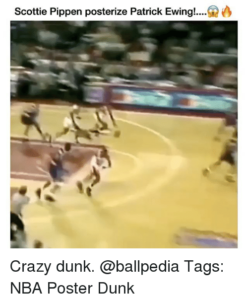 posterized: Scottie Pippen posterize Patrick Ewing!.... Crazy dunk. @ballpedia Tags: NBA Poster Dunk