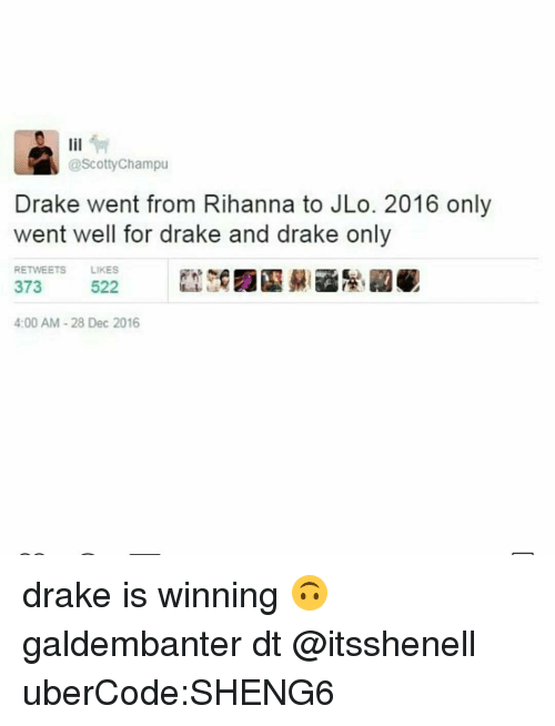 Drake, JLo, and Memes: @Scotty Champu  Drake went from Rihanna to JLo. 2016 only  went well for drake and drake only  RETWEETS  LIKES  522  373  4:00 AM 28 Dec 2016 drake is winning 🙃 galdembanter dt @itsshenell uberCode:SHENG6