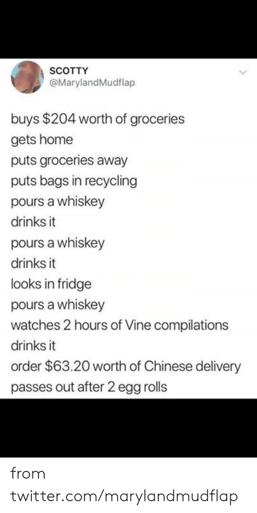 bags: SCOTTY  @MarylandMudflap  buys $204 worth of groceries  gets home  puts groceries away  puts bags in recycling  pours a whiskey  drinks it  pours a whiskey  drinks it  looks in fridge  pours a whiskey  watches 2 hours of Vine compilations  drinks it  order $63.20 worth of Chinese delivery  passes out after 2 egg rolls from twitter.com/marylandmudflap
