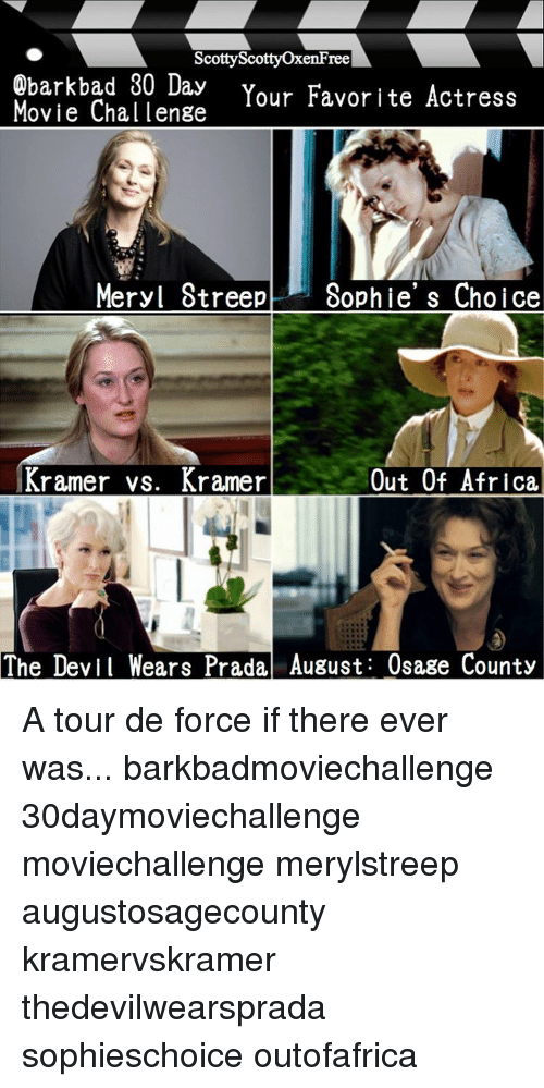 Memes, Meryl Streep, and Prada: Scotty ree  Obark bad 30 ay  Your Favorite Actress  Movie Chal lenge  Meryl Streep Sophie' s Choice  Kramer vs. Kramer  Out Of Africa,  The Devil Wears Prada, August: Osage County A tour de force if there ever was... barkbadmoviechallenge 30daymoviechallenge moviechallenge merylstreep augustosagecounty kramervskramer thedevilwearsprada sophieschoice outofafrica