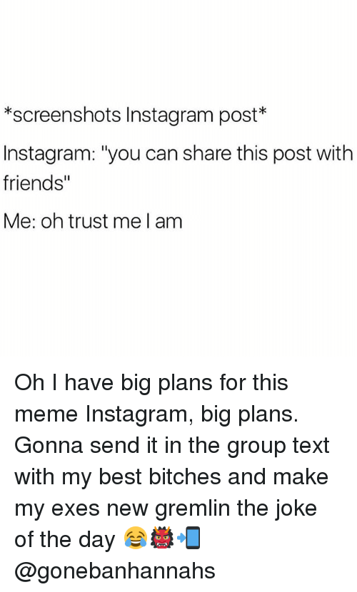 """joke of the day: *screenshots Instagram post  Instagram: """"you can share this post with  friends""""  Me: oh trust me l am Oh I have big plans for this meme Instagram, big plans. Gonna send it in the group text with my best bitches and make my exes new gremlin the joke of the day 😂👹📲 @gonebanhannahs"""