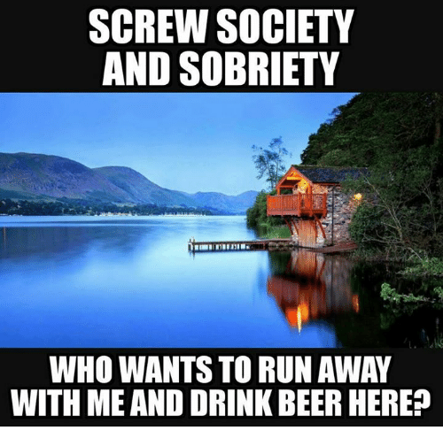 Beer, Drinking, and Memes: SCREW SOCIETY  AND SOBRIETY  WHO WANTS TO RUN AWAY  WITH MEAND DRINK BEER HERE?
