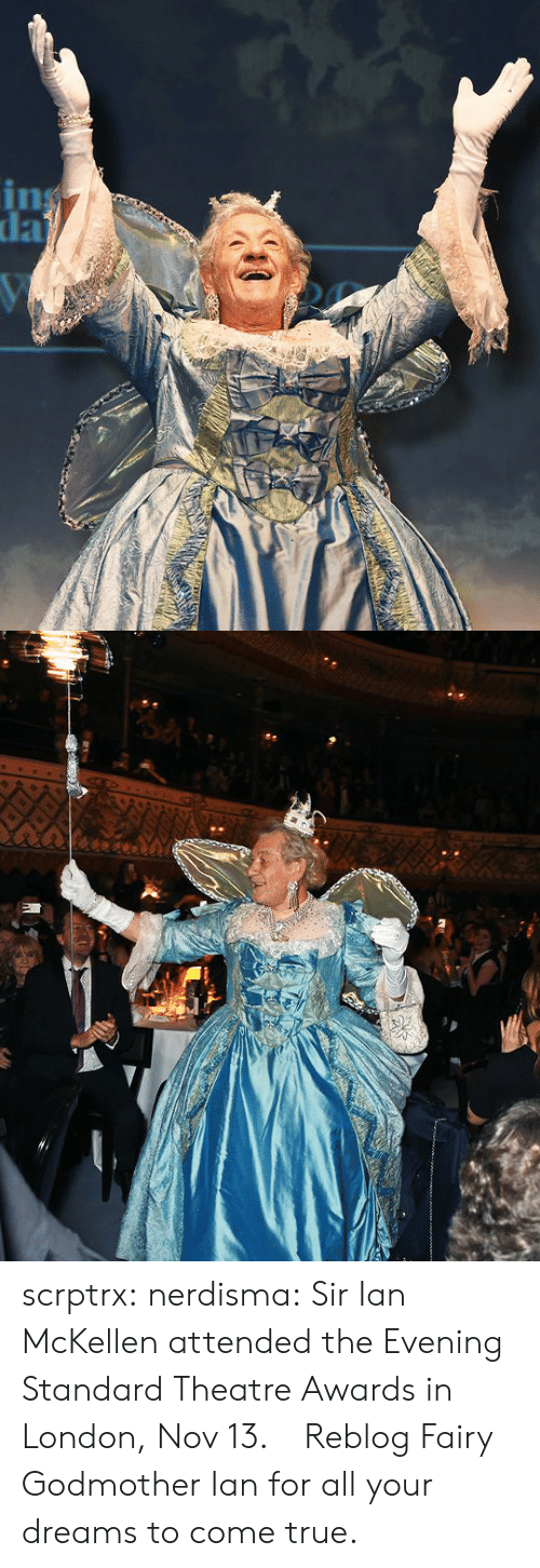 Ian: scrptrx:  nerdisma:  Sir Ian McKellen attended the Evening Standard Theatre Awards in London, Nov 13.   Reblog Fairy Godmother Ian for all your dreams to come true.
