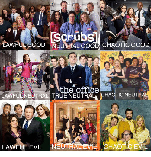 True Neutral: Scrubs  TAWFULGOOD NEUTRAL GOOD CHAOTIC GOOD  NEVER  STOP  LAERNING  the office  GREENDALE  LAWFU  TRAL TRUE NEUTRAL CHAOTIC NEUTR  STUDY GROUP  LAWFULEVIL NE  CHAOTIC EVIL