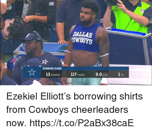 ezekiel-elliott: SDS  DALLAS  OWBOYS  RUNNING GAME  13 RUSHES  117 YARDS  9.0 AVG  1 TD Ezekiel Elliott's borrowing shirts from Cowboys cheerleaders now. https://t.co/P2aBx38caE