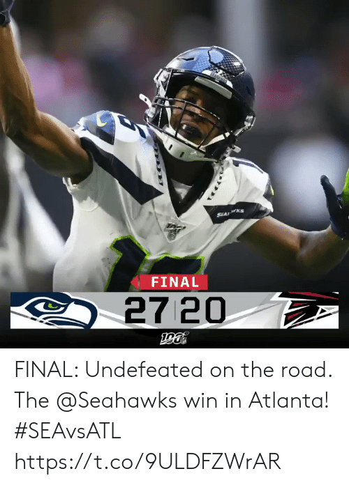 On the Road: SEA KS  FINAL  27 20 FINAL: Undefeated on the road. The @Seahawks win in Atlanta! #SEAvsATL https://t.co/9ULDFZWrAR