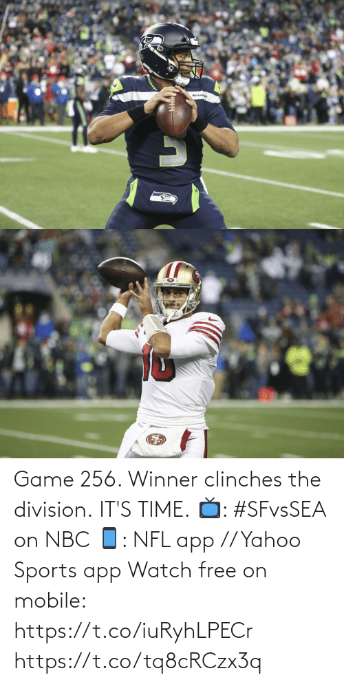 nbc: SEAHAKS Game 256. Winner clinches the division.  IT'S TIME.  📺: #SFvsSEA on NBC 📱: NFL app // Yahoo Sports app Watch free on mobile: https://t.co/iuRyhLPECr https://t.co/tq8cRCzx3q