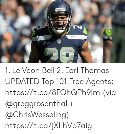 leveon bell: SEAHAWKS 1. Le'Veon Bell 2. Earl Thomas  UPDATED Top 101 Free Agents: https://t.co/8FOhQPh9lm (via @greggrosenthal + @ChrisWesseling) https://t.co/jXLhVp7aig