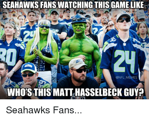 Seahawks Fan: SEAHAWKS FANSWATCHING THIS GAMELIKE  @NFL MEMES  WHORSTHIS MATT HASSELBECK GUY? Seahawks Fans...