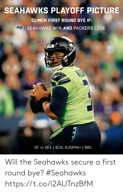 Packers Lose: SEAHAWKS PLAYOFF PICTURE  CLINCH FIRST ROUND BYE IF:  SEAHAWKS WIN AND PACKERS LOSE  SEARAWAS  SF vs SEA | SUN, 8:20PMET| NBC Will the Seahawks secure a first round bye?  #Seahawks https://t.co/i2AUTnzBfM