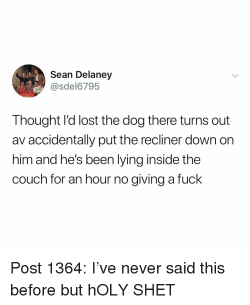 Giving A Fuck: Sean Delaney  @sdel6795  Thought l'd lost the dog there turns out  av accidentally put the recliner down on  him and he's been lying inside the  couch for an hour no giving a fuck Post 1364: I've never said this before but hOLY SHET