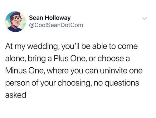 A Plus: Sean Holloway  CoolSeanDotCom  At my wedding, you'll be able to come  alone, bring a Plus One, or choose a  Minus One, where you can uninvite one  person of your choosing, no questions  asked