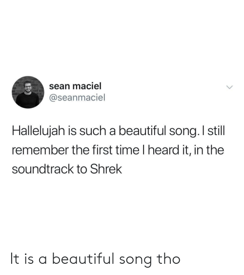 sona: sean maciel  @seanmaciel  Halleluiah is such a beautiful sona, I still  remember the first time I heard it, in the  soundtrack to Shrek It is a beautiful song tho