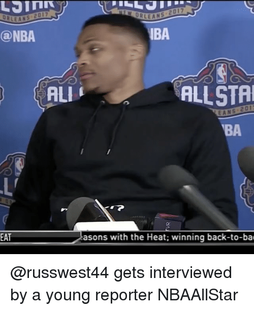 Nba, Sports, and Heat: SEANS 2017  IBA  @NBA  ALl  ALLSTA  EANS VBA  EAT  asons with the Heat; winning back-to-bac @russwest44 gets interviewed by a young reporter NBAAllStar