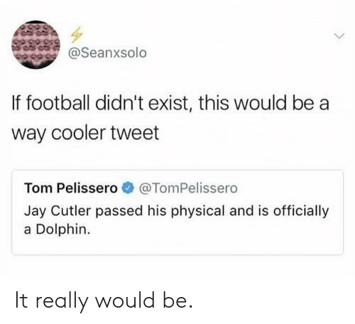 cutler: @Seanxsolo  If football didn't exist, this would be a  way cooler tweet  Tom Pelissero@TomPelissero  Jay Cutler passed his physical and is officially  a Dolphin. It really would be.