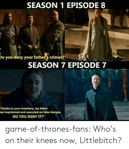 """Game of Thrones, Tumblr, and Blog: SEASON 1 EPISODE 8  Do you deny your father 's crimes?  SEASON 7 EPISODE 7  Thanks to your treachery, my father  was imprisoned and executed on false charges.  DO YOU DENY IT?"""" game-of-thrones-fans:  Who's on their knees now, Littlebitch?"""