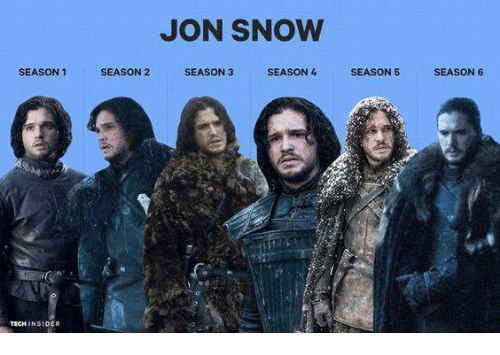 Game of Thrones, Jon Snow, and Snow: SEASON 1  TECH INSIDER  JON SNOW  SEASON 2  SEASON 3  SEASON 4  SEASON 5  SEASON 6