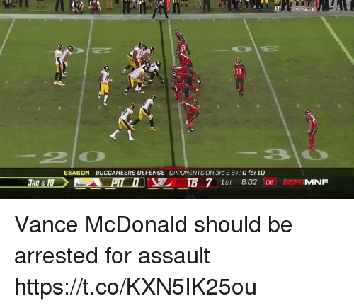 Football, Nfl, and Sports: SEASON  BUCCANEERS DEFENSE OPPONENTS ON 3rd G 8+:0 for 10  3RD & 10 Vance McDonald should be arrested for assault https://t.co/KXN5IK25ou