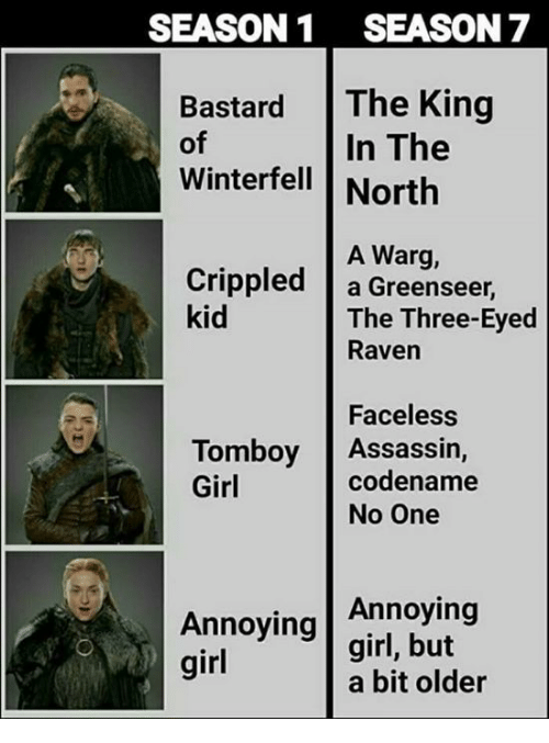 crippled: SEASON1 SEASON 7  Bastard The King  In The  of  Winterfell North  A Warg,  Crippled a Greenseer,  kid  The Three-Eyed  Raven  Faceless  codename  Tomboy Assassin,  Girl  No One  Annoying  Annoying |girl, but  girl  a bit older