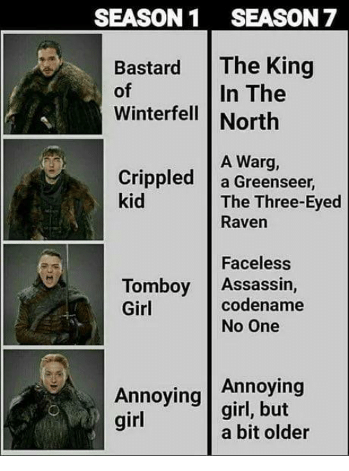 three eyed raven: SEASON1 SEASON 7  Bastard The King  of  Winterfell | North  In The  A Warg,  Crippled a Greenseer  kid  The Three-Eyed  Raven  Faceless  codename  Tomboy Assassin,  Girl  No One  Annoying  Annoying girl, but  girl  a bit older