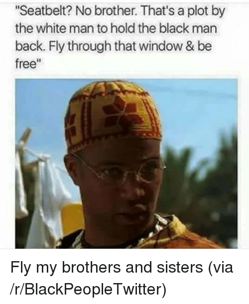 """Blackpeopletwitter, Black, and Free: Seatbelt? No brother. That's a plot by  the white man to hold the black man  back. Fly through that window & be  free"""" <p>Fly my brothers and sisters (via /r/BlackPeopleTwitter)</p>"""