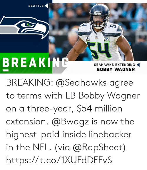 wagner: SEATTLE  ARNKS  SEAHAWKs  PGA  54  BREAKING  SEAHAWKS EXTENDING  BOBBY WAGNER BREAKING: @Seahawks agree to terms with LB Bobby Wagner on a three-year, $54 million extension.  @Bwagz is now the highest-paid inside linebacker in the NFL. (via @RapSheet) https://t.co/1XUFdDFFvS