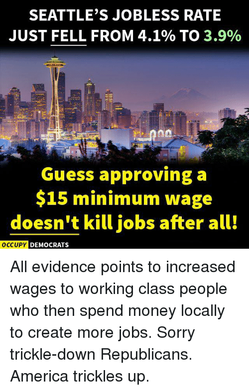 America, Memes, and Money: SEATTLE'S JOBLESS RATE  JUST FELL FROM 4.1% TO  3.9%  Guess approving a  $15 minimum wage  doesn't kill jobs after all!  OCCUPY DEMOCRATS All evidence points to increased wages to working class people who then spend money locally to create more jobs.  Sorry trickle-down Republicans.  America trickles up.