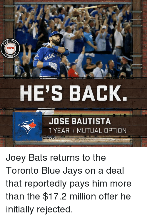 Blue Jays: SEB  ESrin  ONIGS  HE'S BACK.  JOSE BAUTISTA  1 YEAR MUTUAL OPTION Joey Bats returns to the Toronto Blue Jays on a deal that reportedly pays him more than the $17.2 million offer he initially rejected.