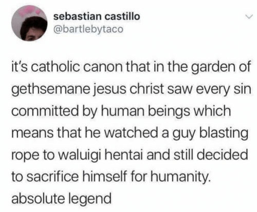 sebastian: sebastian castillo  @bartlebytaco  it's catholic canon that in the garden of  gethsemane jesus christ saw every sin  committed by human beings which  means that he watched a guy blasting  rope to waluigi hentai and still decided  to sacrifice himself for humanity.  absolute legend