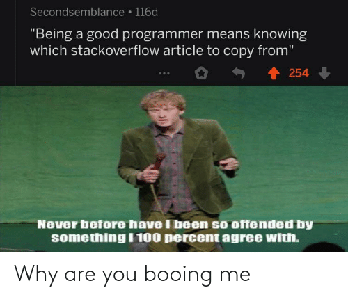 "Agree With: Secondsemblance • 116d  ""Being a good programmer means knowing  which stackoverflow article to copy from""  254  Never before have I been so offended by  something I 100 percent agree with. Why are you booing me"