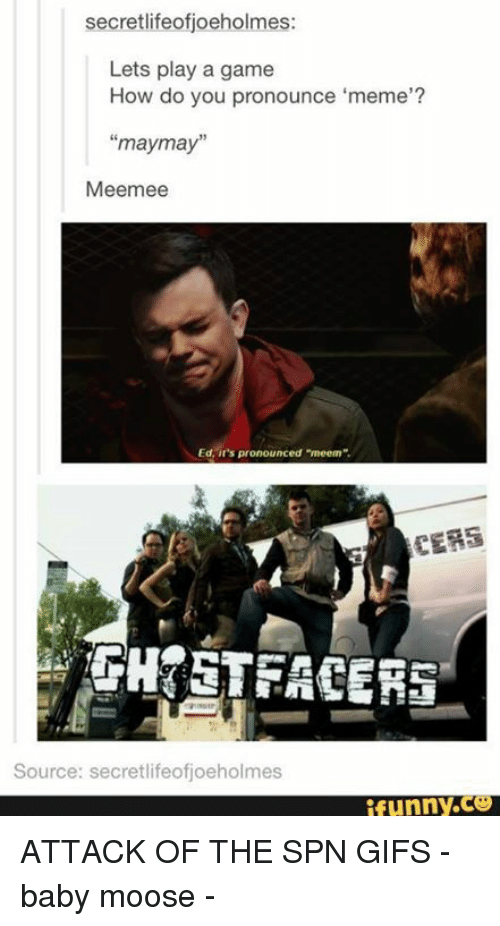 """Pronounce Memes: secretlifeofijoeholmes:  Lets play a game  How do you pronounce """"meme""""?  may may""""  Meemee  Ed, it's pronounced """"meem"""".  TERS  Source: secretlifeofjoeholmes  funny. ATTACK OF THE SPN GIFS  - baby moose -"""