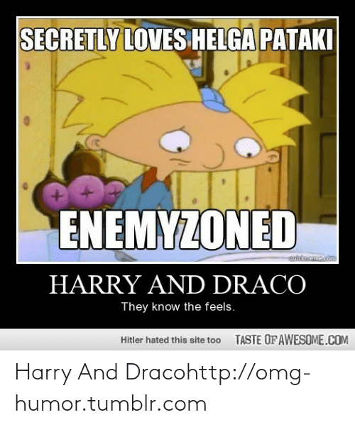helga pataki: SECRETLY LOVES HELGA PATAKI  ENEMYZONED  quickmeme.com  HARRY AND DRACO  They know the feels.  TASTE OF AWESOME.COM  Hitler hated this site too Harry And Dracohttp://omg-humor.tumblr.com