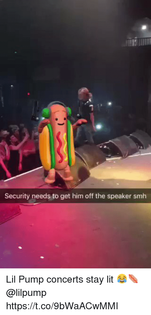 Lit, Memes, and Smh: Security needs to get him off the speaker smh Lil Pump concerts stay lit 😂🌭 @lilpump https://t.co/9bWaACwMMI