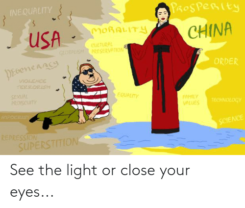 close your eyes: See the light or close your eyes...