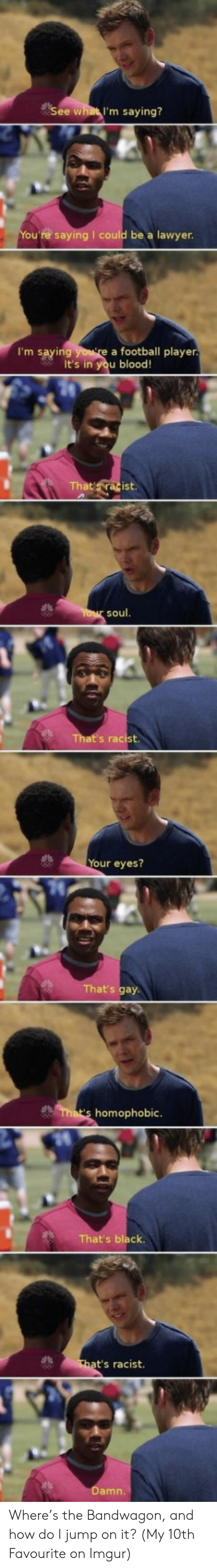 Football Player: See what I'm saying?  u're saying I could be a lawyen  I'm saying  a football player  It's in you blood!  soul  Your eyes?  at's gay  homophobic  That's black  t's racist  amn Where's the Bandwagon, and how do I jump on it? (My 10th Favourite on Imgur)