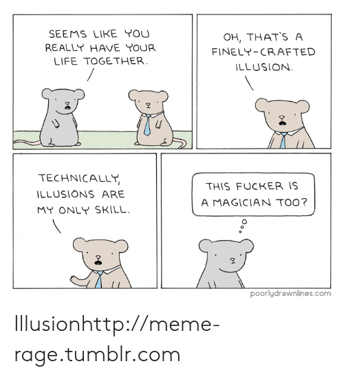 Meme Rage: SEEMS LIKE YOU  REALLY HAVE YOUR  LIFE TOGETHER  OH, THATS A  FINELY-CRAFTED  LLUSION  오  TECHNICALLT,  LLUSIONS ARE  MY ONLY SKILL.  THIS FUCKER IS  A MAGICIAN TO0?  poorlydrawnlines.com Illusionhttp://meme-rage.tumblr.com