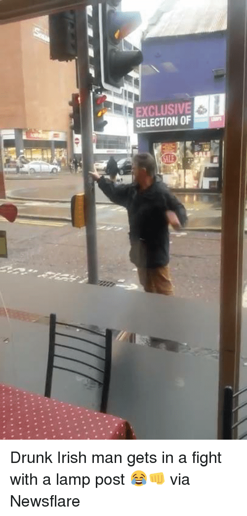 Dank, Irish, and 🤖: SELECTION OF Drunk Irish man gets in a fight with a lamp post 😂👊  via Newsflare