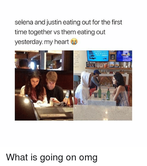 Omg, Heart, and Selena: selena and justin eating out for the first  time together vs them eating out  yesterday, my heart What is going on omg