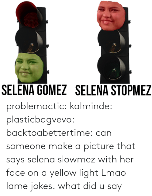 Lmao, Selena Gomez, and Target: SELENA GOMEZ SELENA STOPMEZ problemactic:  kalminde:  plasticbagvevo:  backtoabettertime:  can someone make a picture that says selena slowmez with her face on a yellow light    Lmao lame jokes.  what did u say