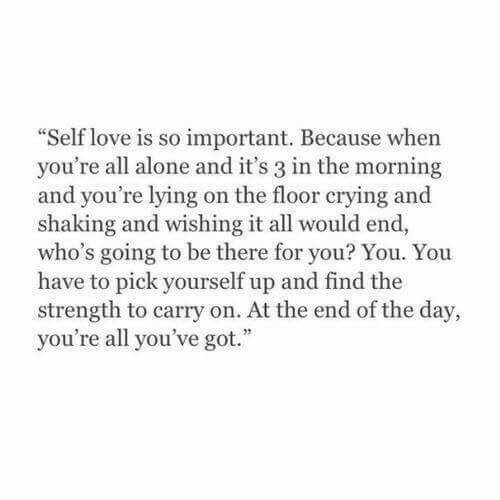 """self love: Self love is so important. Because when  you're all alone and it's 3 in the morning  and you're lying on the floor crying and  shaking and wishing it all would end,  who's going to be there for you? You. You  have to pick yourself up and find the  strength to carry on. At the end of the day,  you're all you've got."""""""