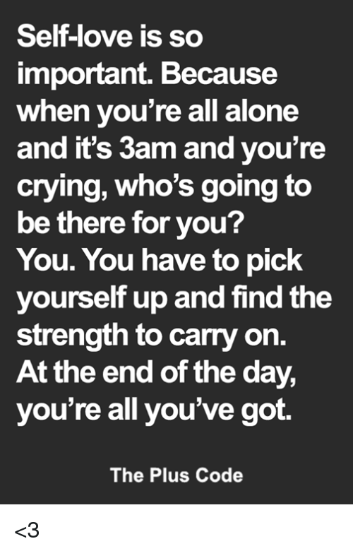 Being Alone, Crying, and Love: Self-love is so  important. Because  when you're all alone  and it's 3am and you're  crying, who's going to  be there for you?  You. You have to pick  yourself up and find the  strength to carry on.  At the end of the day,  you're all you've got.  The Plus Code <3