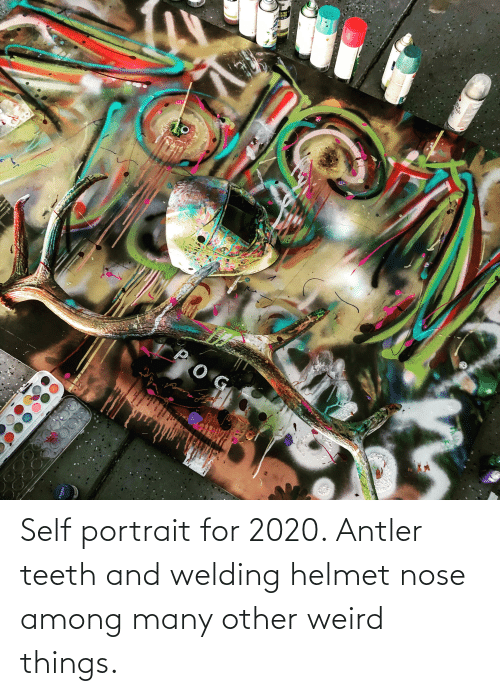 helmet: Self portrait for 2020. Antler teeth and welding helmet nose among many other weird things.